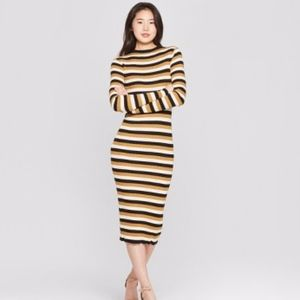 NEW Who What Wear Retro Ribbed Midi Sweater Dress